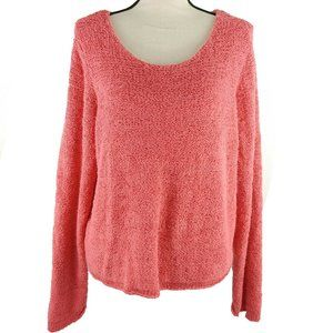 J Jill Sweater Large Orange Scoop Neck Cropped